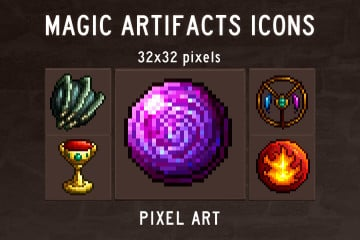 Magic Artifacts Pixel Art Icons