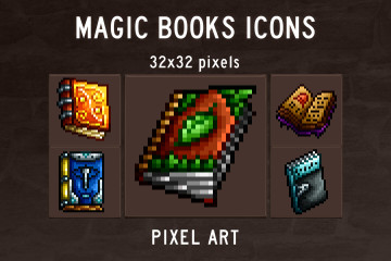 Magic Books Pixel Art Icons Pack