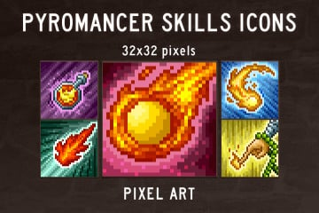 Pyromancer Skills Pixel Art Icons