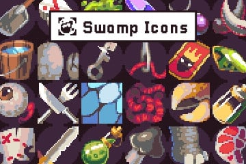40 Pixel Art Icons for Swamp Location