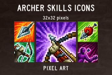 Archer Skills Pixel Art Icons
