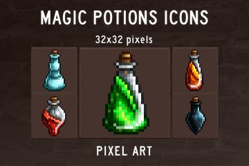 Free Magic Potions Pixel Art Icons