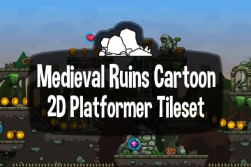 Free Medieval Ruins Cartoon 2D Tileset