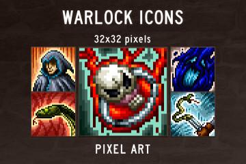Warlock Skills Pixel Art Icons Pack