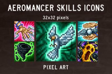 Aeromancer Skill Icons Pixel Art