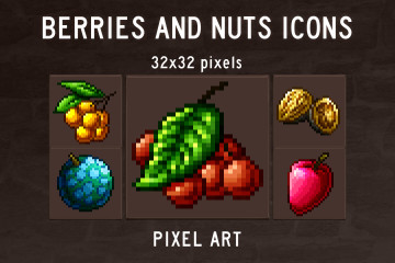 Berries and Nuts Pixel Art Icons