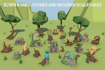Elven Runes, Stones and Wooden Sculptures 3D Low Poly Models