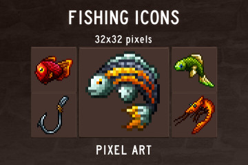 Fishing Game Icons Pixel Art