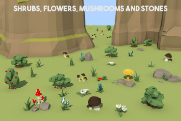 Free Shrubs, Flowers and Mushrooms 3D Low Poly Models
