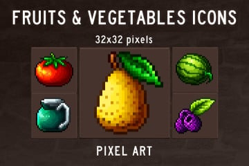Fruits and Vegetables Pixel Art Icon Pack