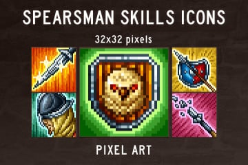 Spearman Skills Pixel Art Icons