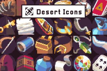 40 Pixel Art Icons for Desert Location