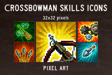 Crossbowman Skills Pixel Art Icons