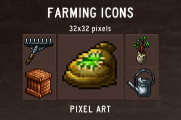 Farming Pixel Art Icons Pack