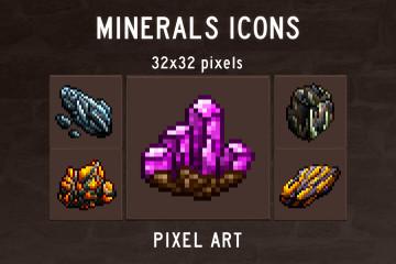 Free Minerals Pixel Art Icons