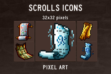 Scroll Pixel Art Icons