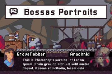 Bosses Portraits for Dialogues Pixel Art