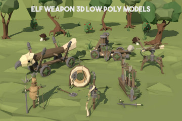 Elf Weapon 3D Low Poly Models