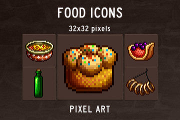 Food Icons Pixel Art Pack