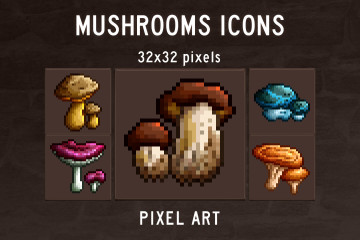 Mushroom Pixel Art Game Icons
