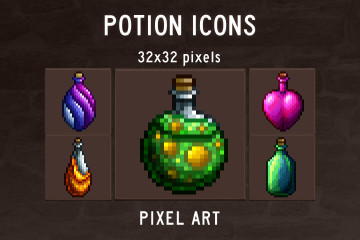 Potion Icons Pixel Art Pack
