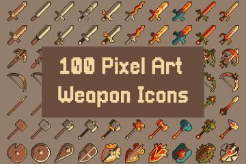 100 Pixel Art Weapon Icons