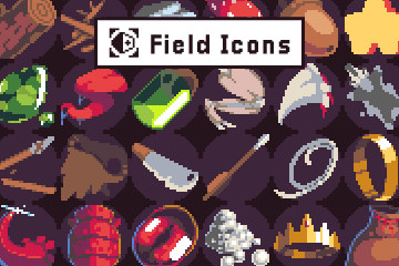 40 Pixel Art Icons for Field Location