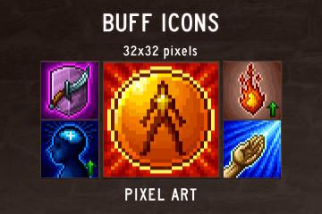 Buff Skill Pixel Art Icons