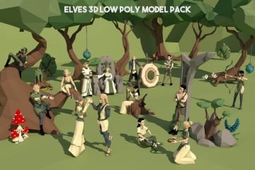 Elves 3D Low Poly Model Pack