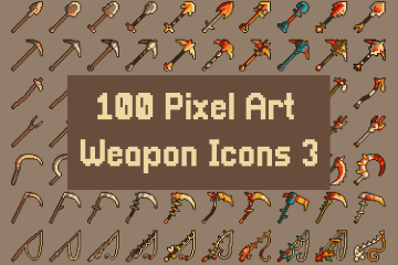100 Pixel Art Weapon Icons Pack 3
