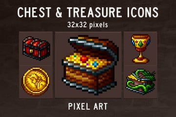Chest and Treasure Pixel Art Game Icons