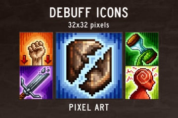 Debuff Skill Pixel Art Icons