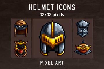 Helmet Pixel Art Game Icons
