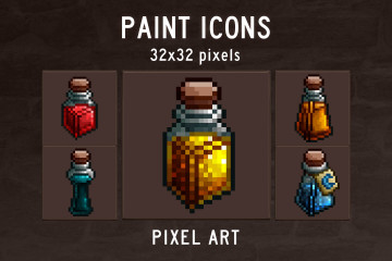 Free Paint Pixel Art Icon Pack