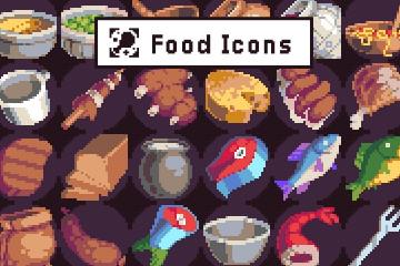 40 Food Icons Pixel Art