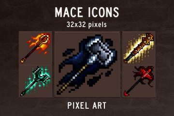 Mace Pixel Art Game Icons