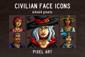 Medieval Game Avatar Pixel Art Icons
