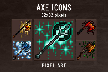 Axe RPG Icons Pixel Art