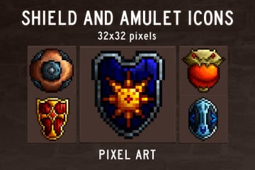 Free Shield and Amulet RPG Icons
