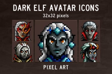 Dark Elf Avatar Icons Pixel Art