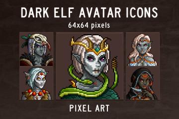 Dark Elf Portrait Icons Pixel Art