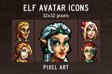 Elf Avatar Icons Pixel Art