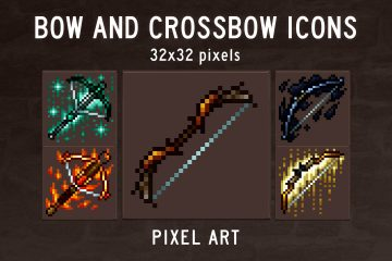 Free Bow and Crossbow Pixel Art Icons